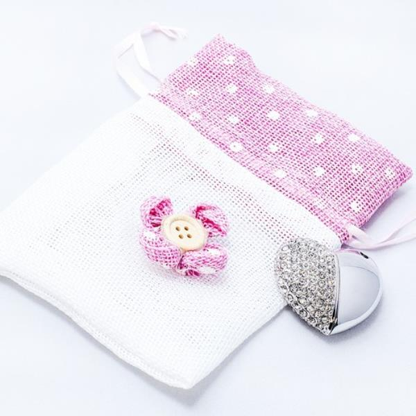 Heart Flash Drive with Button Pouch