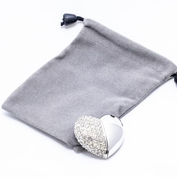 Heart Flash and Grey Velour Pouch