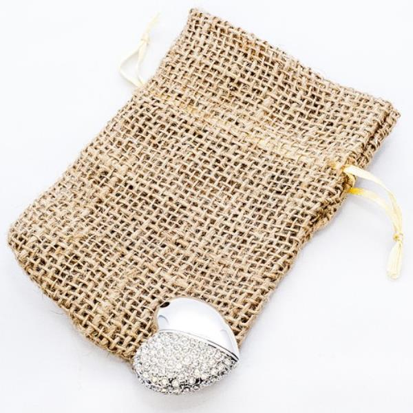 Heart Flash Drive with Hessian Pouch