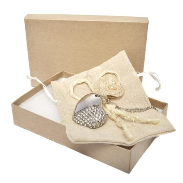 Heart Flash Drive and Kraft Gift Box
