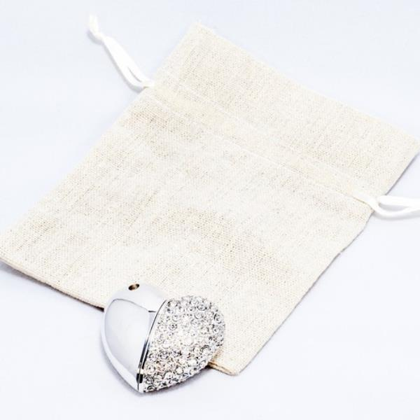 Heart Flash Drive and Linen Pouch