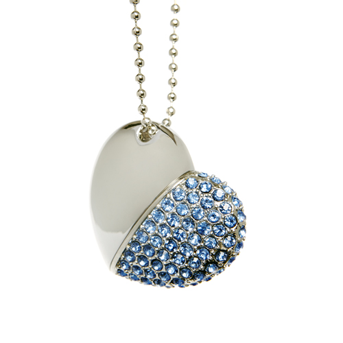 Diamond Heart USB Flash Drive - Blue