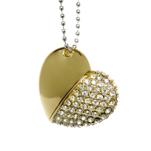 Diamond Heart USB Flash Drive - Gold