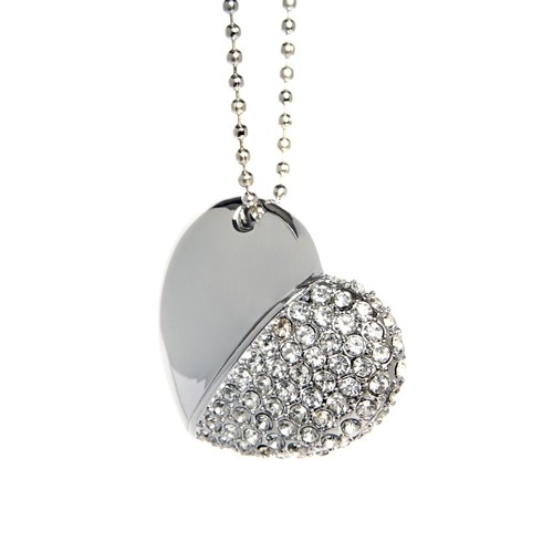 Diamond Heart USB Flash Drive - Silver