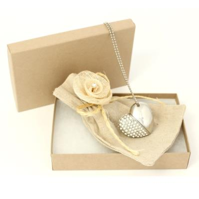 Diamond Heart in Kraft Box with Rose Pouch