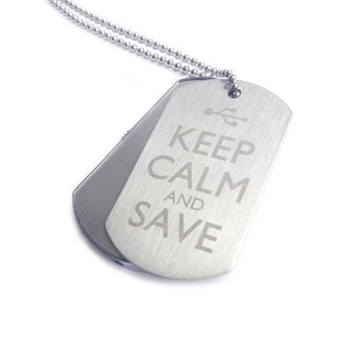 Engraved 8GB Dog Tags - Keep Calm & Save