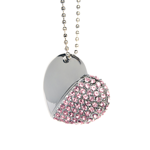 Diamond Heart USB Flash Drive - Pink