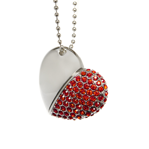 Red Diamond Heart with Chain