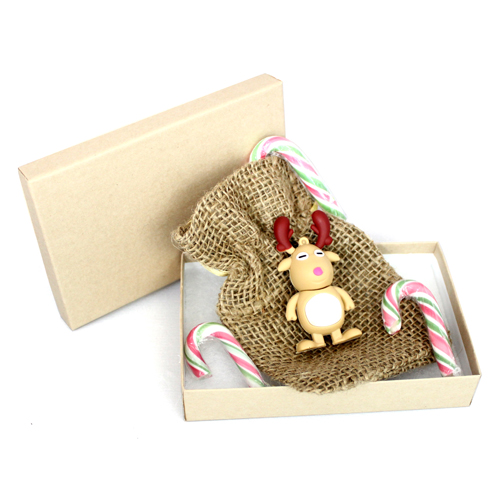 8GB Christmas Reindeer & Hessian Pouch & Kraft Gift Box