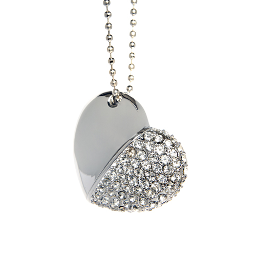 Silver Diamond Heart with Chain