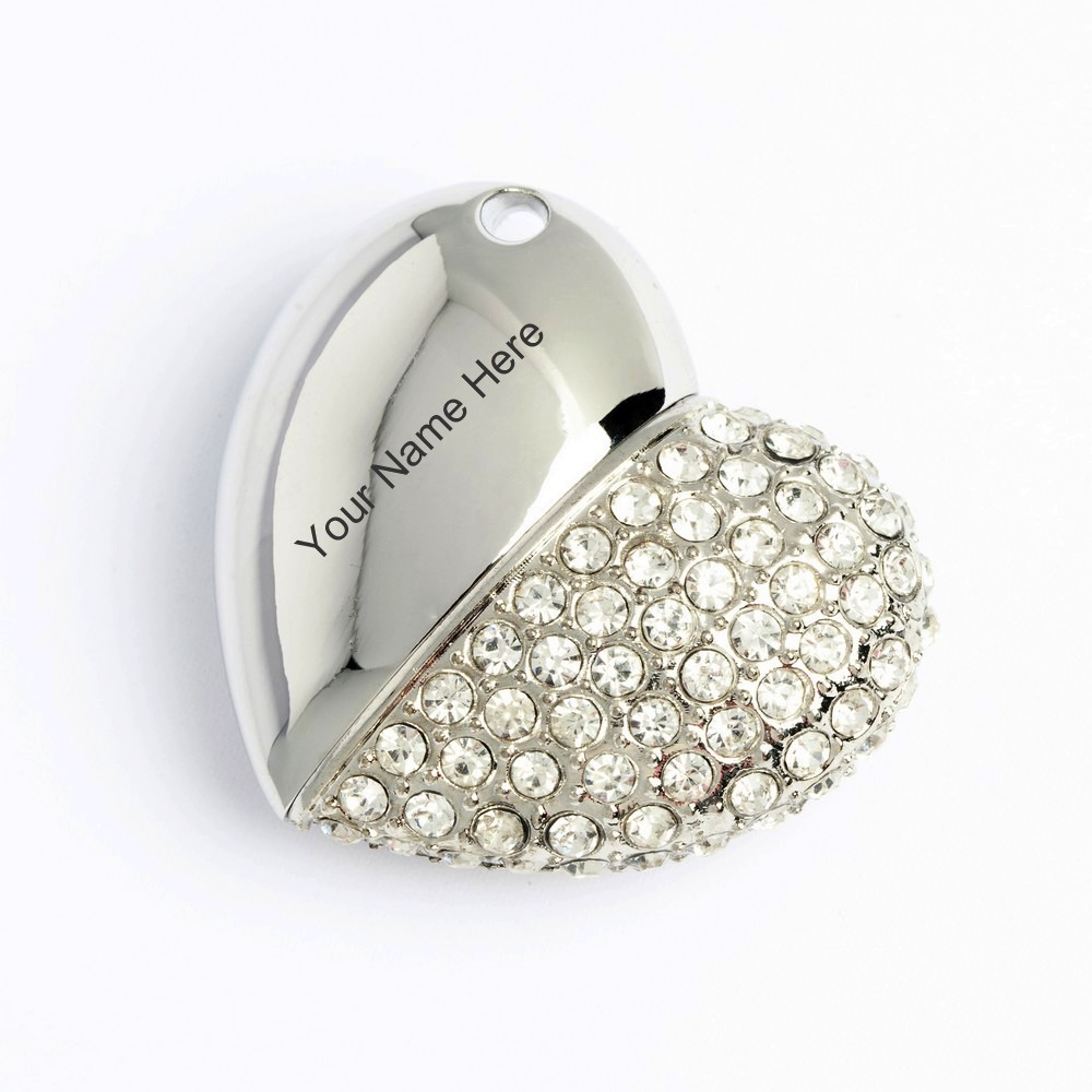 Personalised Silver Diamond Heart